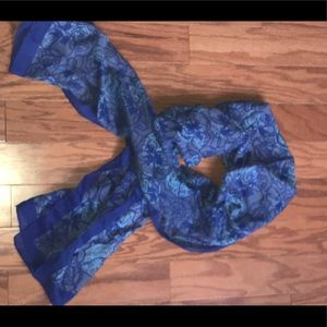 Cotton multiple pattern Blue and grey scarf/ shawl